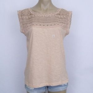 Loft Ann Taylor Peach Crochet Top